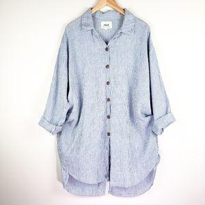 Flax by Jeanne Engelhart Linen Button Blouse Top
